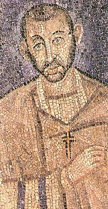 Ambrosius von Mailand, Mosaik in Sant'Ambrogio in Mailand (Quelle: Wikipedia).