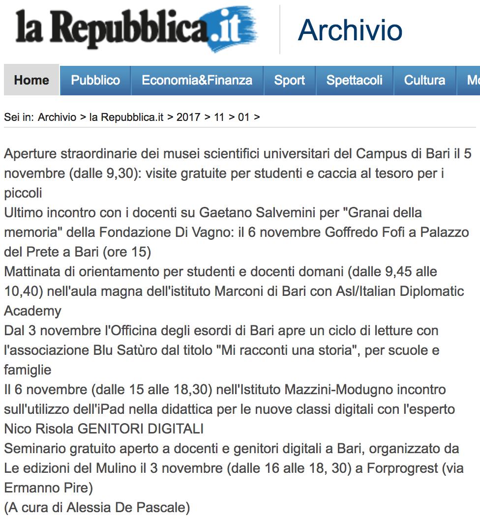 La Repubblica.it 01-11-2017