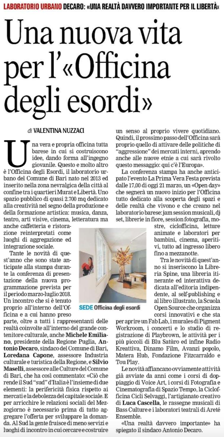 Gazzetta del Mezzogiorno 21-3-2018