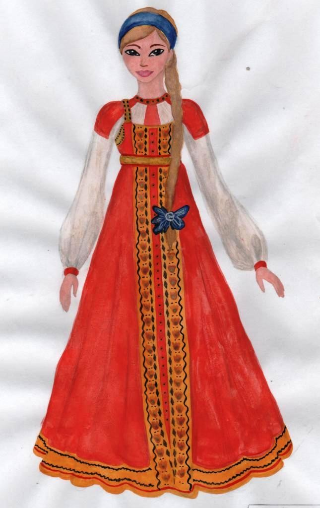 Картинки русских народных костюмов нарисованные