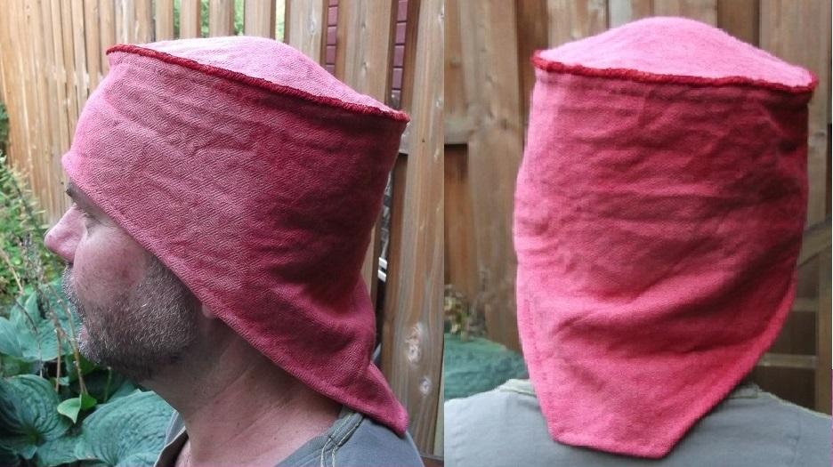 meine Nacharbeitung der Mütze aus Oostrum, ideal als Sonnen aber auch Regenschutz
