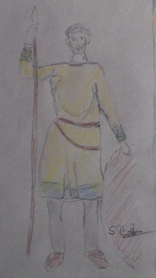 Entwurf für eine Tunika : Zeichnung nach dem Original, nach freiem Entwurf koloriert :
