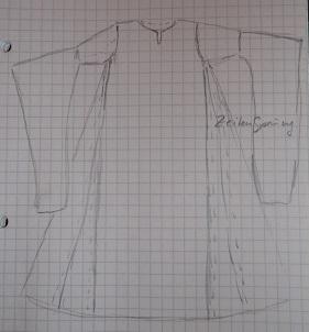 Schnittschema Hochmittelalterliches Kleid mit Hängeärmel