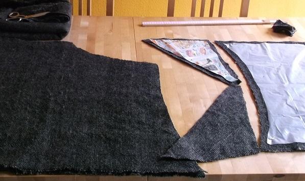 Zuschnitt einer Frühmittelalterlichen Hose aus handgewebtem Stoff
