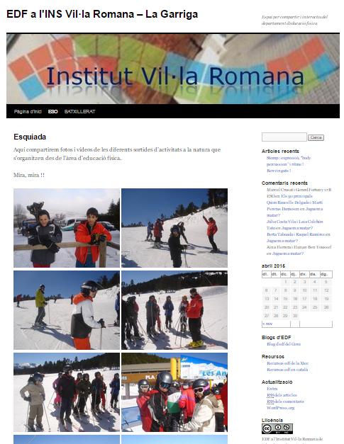 Cliqueu sobre la imatge del bloc d'educació física per accedir-hi
