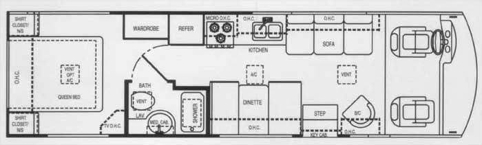 Grundriss des Wohnmobils Hurricane Class A 30Q