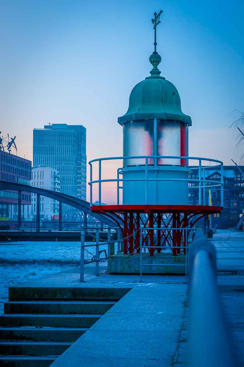 Morgenlicht Eis Frost Leuchtturm Hafencity Museum