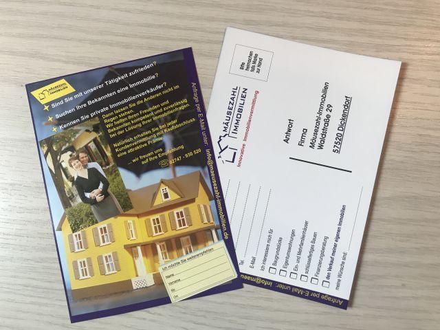 Empfehlungskarte für Mäusezahl-Immobilien. Für jede erfolgreiche Kundenempfehlung erhalten Sie eine attraktive Prämie.