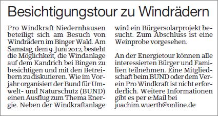 Besichtigungstour zu Windrädern im Binger Wald