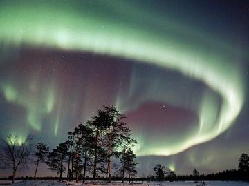 aurore boréale au dessus de la sibérie