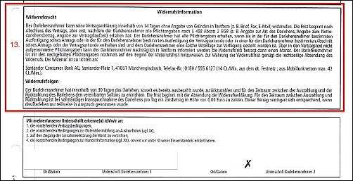 Santander Consumer Bank AG Finanzierung Kredit Darlehen wegen fehlerhafter Widerrufsbelehrung widerrufen 492 BGB EuGH- Rechtsanwalt Sven Nelke