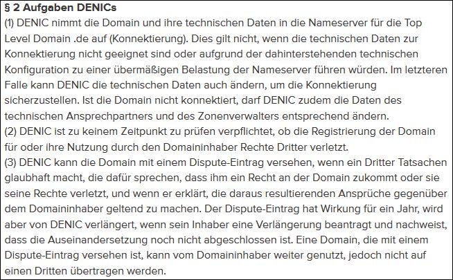 Auszug aus den DENIC-Domainbedingungen; Quelle: DENIC.de - www.denic.de/domainbedingungen/