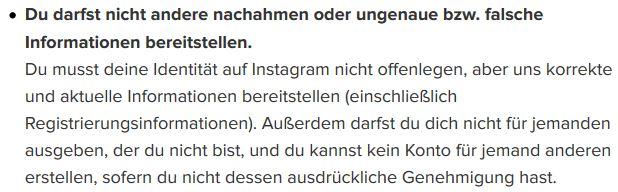 instagram Nutzungsbedingungen - Fake-Accounts / Profile / Konten sind verboten