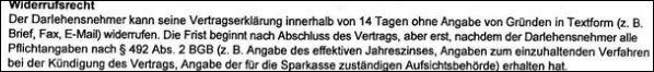 Fehlerhafte Widerrufsbelehrung teuren Kredit teures Darlehen  Widerrufen Sparkasse 492 BGB - Rechtsanwalt Sven Nelke
