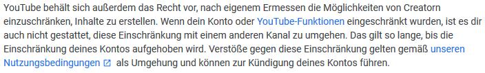 Youtube Funktion gesperrt strike verwarnung umgehen konsequenzen - rechtsanwalt sven nelke