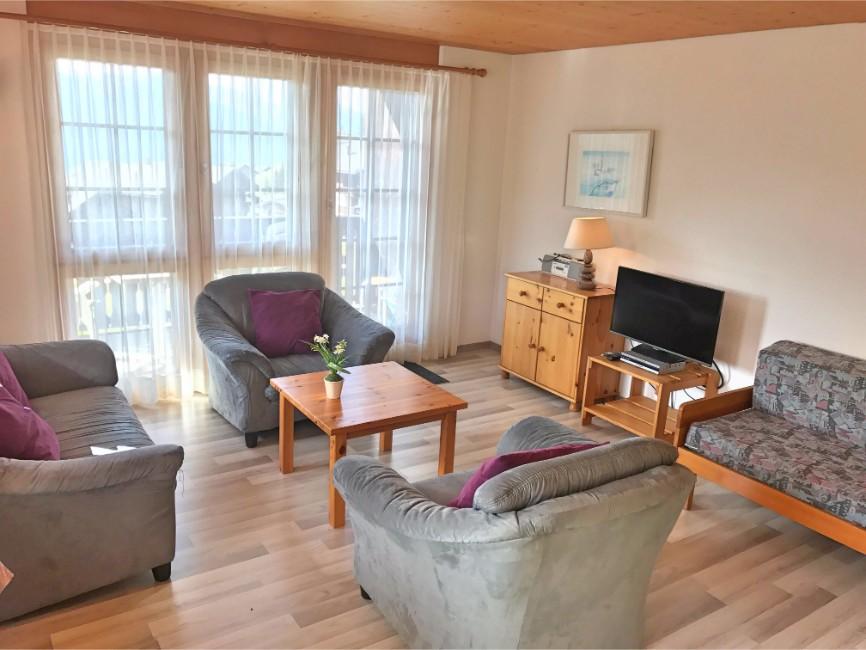 Wohnzimmer mit Sofa und TV in der Sonnenhalde C12 auf der  Riederalp
