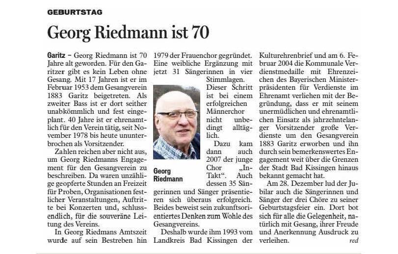 Zeitungsbericht der Saale-Zeitung vom 30.12.2014