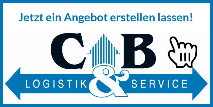 """Bild CB Logistik Logo mit Text """"Jetzt ein Angebot erstellen lassen!"""""""