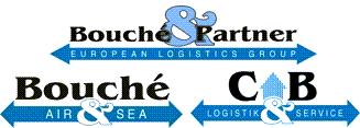 Dreifachlogo: Bouché & Partner GmbH, Bouché Air & Sea GmbH und CB Logistik & Service GmbH