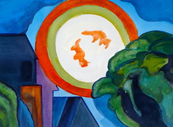 Halloween Moon, watercolor, 11.5 x 8.5, 2012