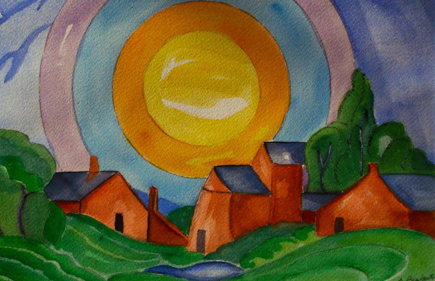 El Sol, watercolor, 11.5 x 7.5