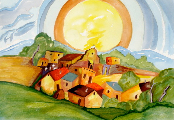 August Sunrise, watercolor, 18.5 x 12.5, 2012, SOLD