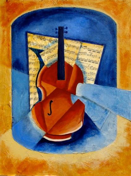 Violin Sonata, acrylic/collage on board, 18 x 24, 2011