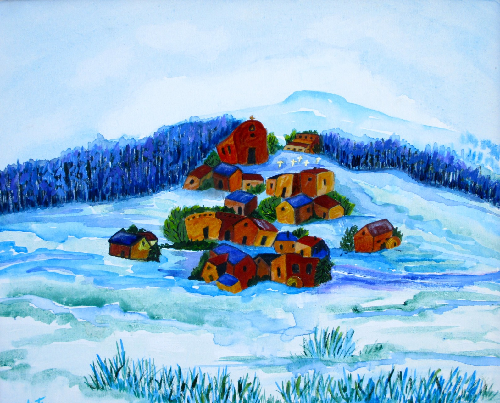 First Snow, watercolor, 20 x 16, 2014 SOLD