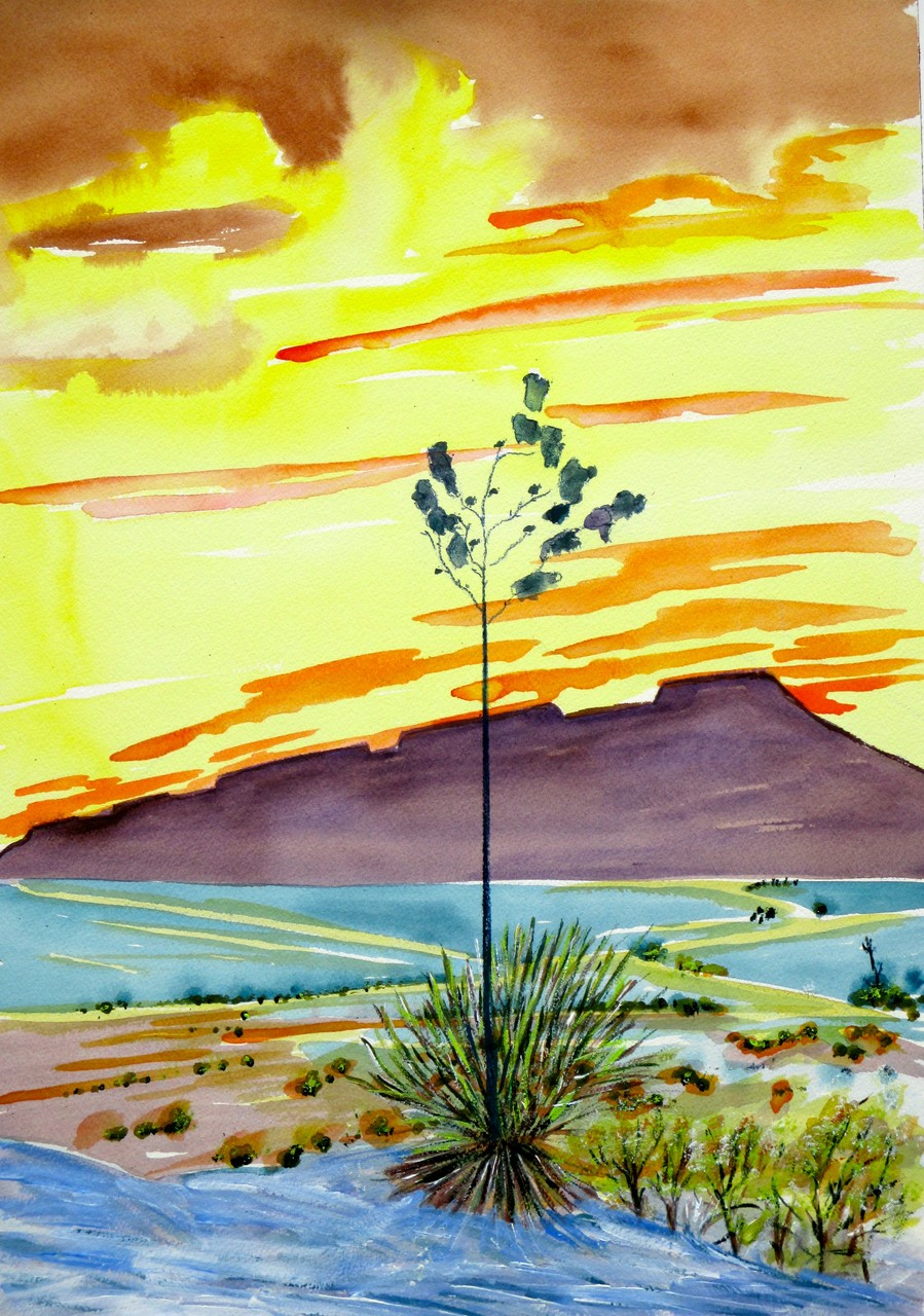 Desert Sun, watercolor, 11.5 x 18.5, 2014 SOLD