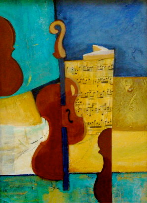 Sonata, acrylic/collage on canvas, 9 x 12, 2012 SOLD