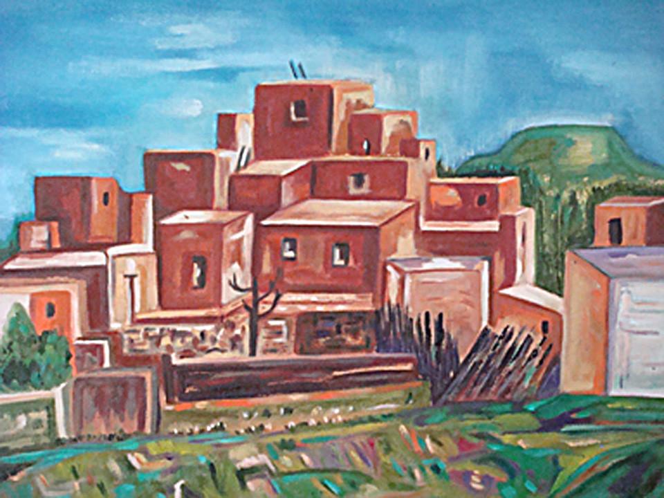 Pueblo Village, oil on canvas, 14 x 18