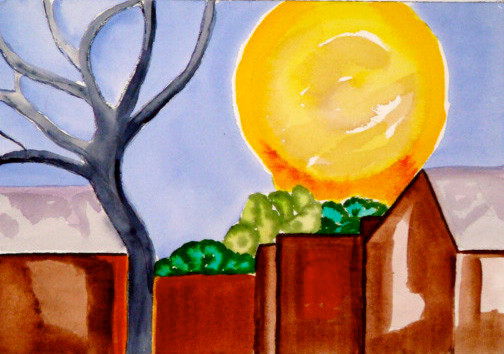 Sunny Reflections, watercolor, 10 x 7, 2010 SOLD