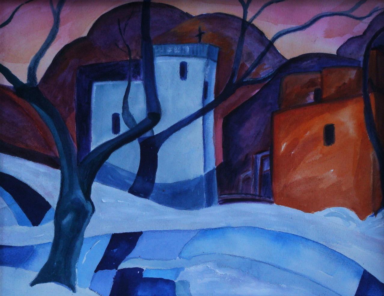 Winter's Glow, watercolor, 15.5 x 11.5, SOLD