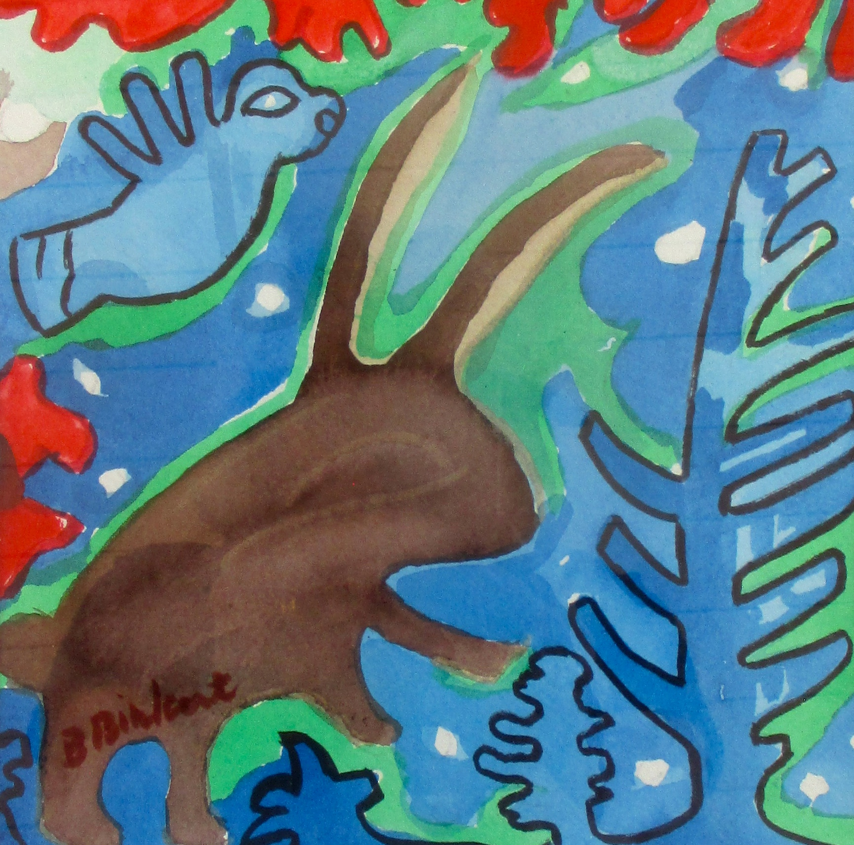 Rabbit Spirit, watercolor, 11 x 14 SOLD