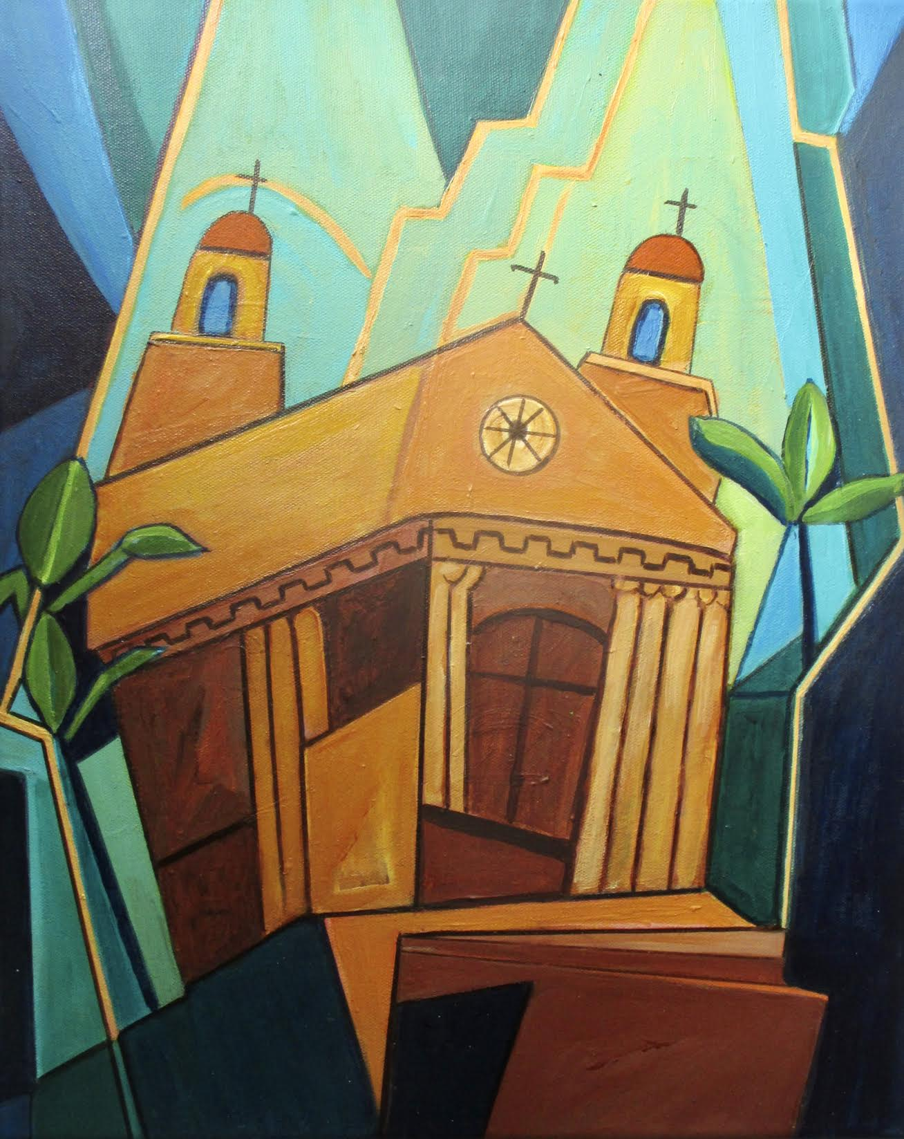 Mission Church, acrylic on canvas, 16 x 20