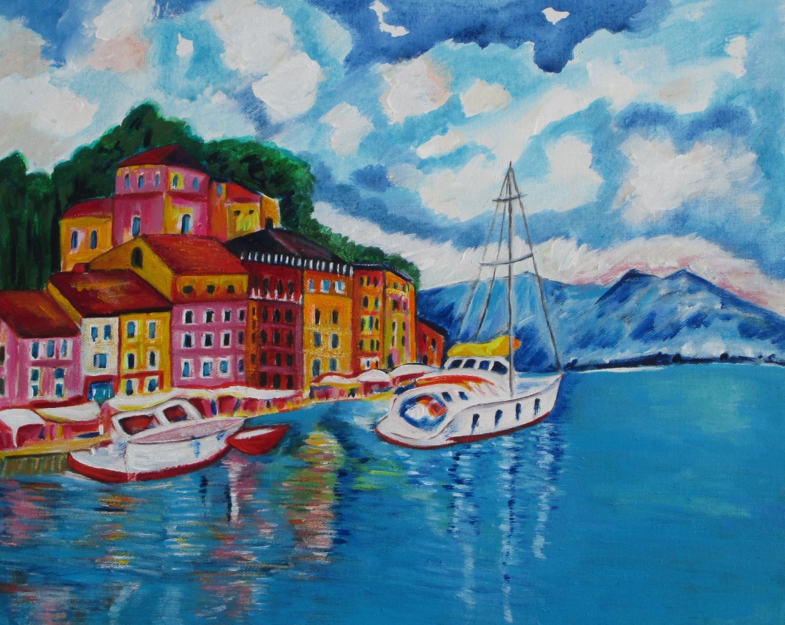 Portofino, acrylic on canvas, 20 x 16, SOLD