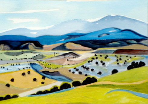 Azure Hills, watercolor, 10 x 7, 2012, SOLD