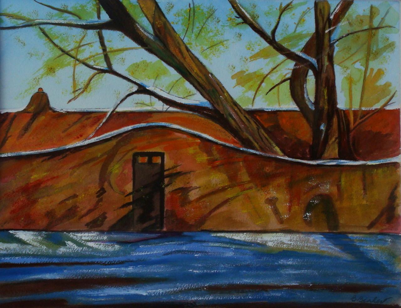 Garden Wall, watercolor, 13.5 x 10.5 SOLD