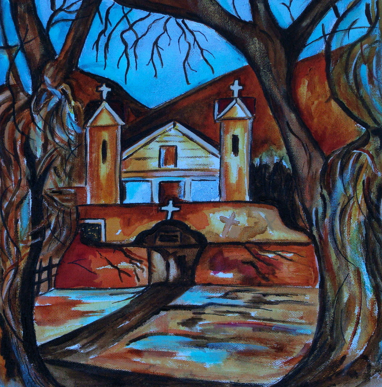 Sanctuario de Chimayo, watercolor, 12 x 12, 2014 SOLD