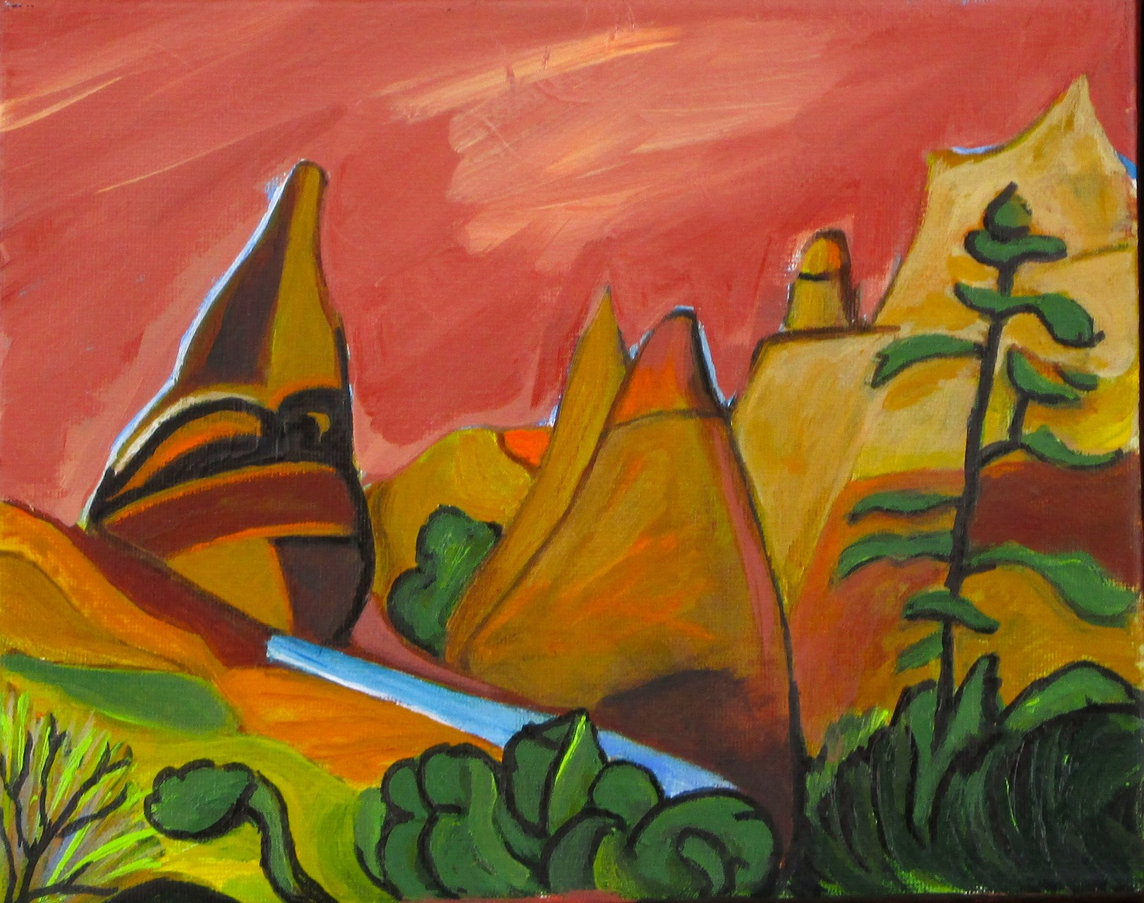 Tent Rocks, oil on canvas, 12 x 9, 2014
