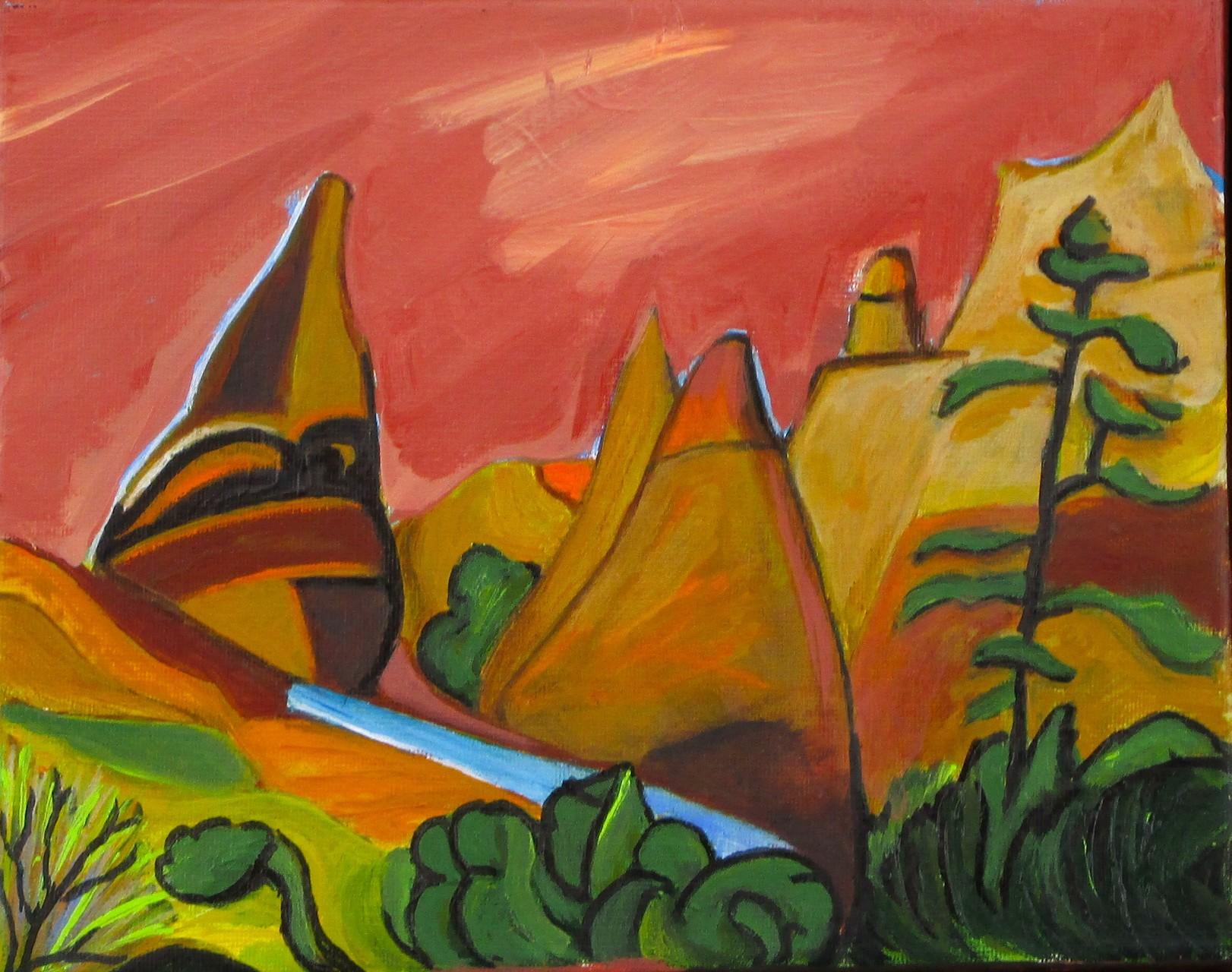 Tent Rocks, oil on canvas, 12 x 9, 2014