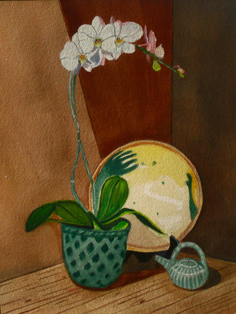 Still Life with Orchid, watercolor, 10.5 x 13.5, 2014 SOLD