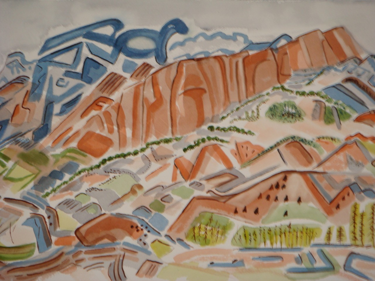 Petroglyph Mountain, watercolor, 17.5 x 13.5, 2008 SOLD