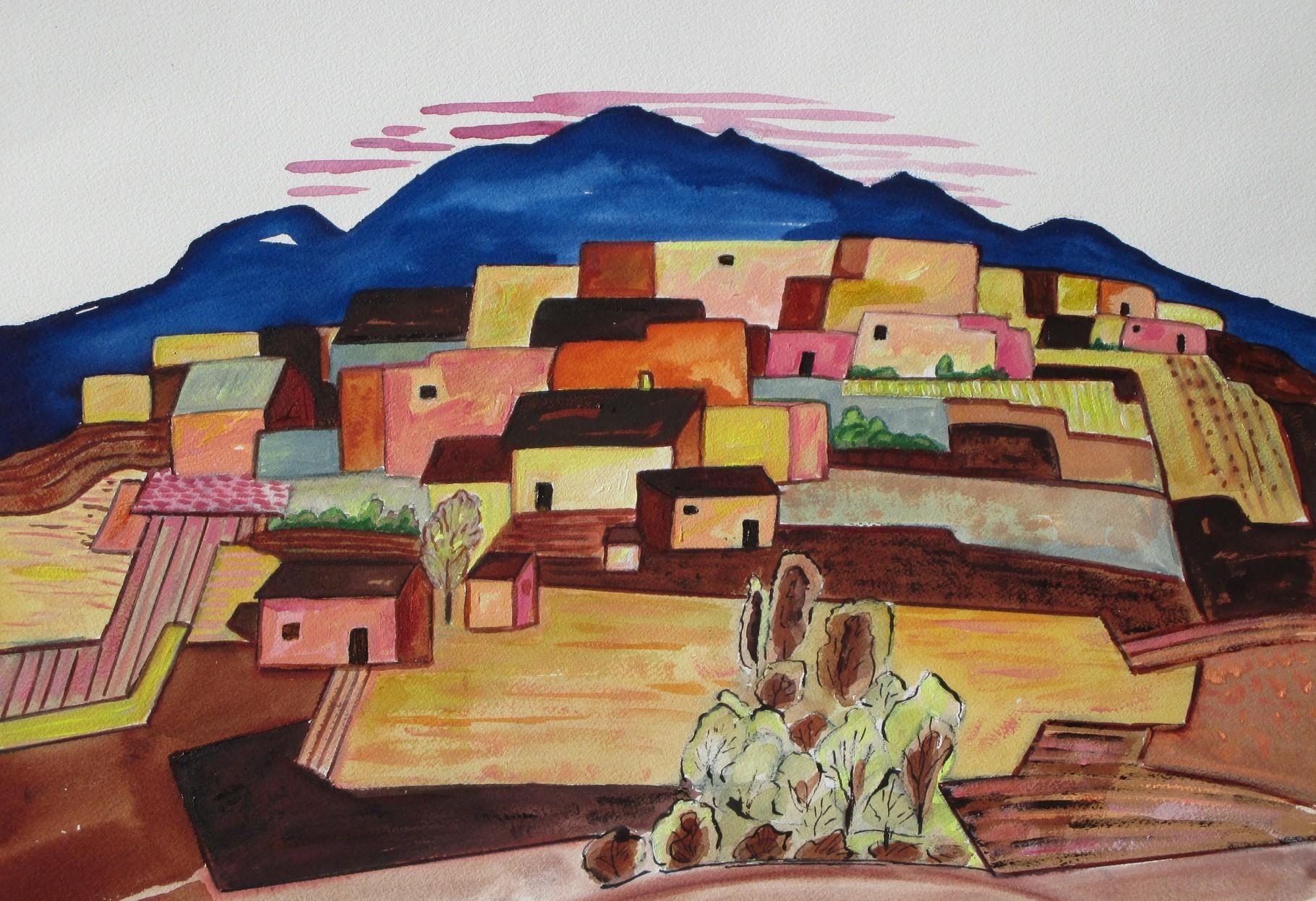 Enchanted Village, watercolor, 18.5 x 12.5, SOLD