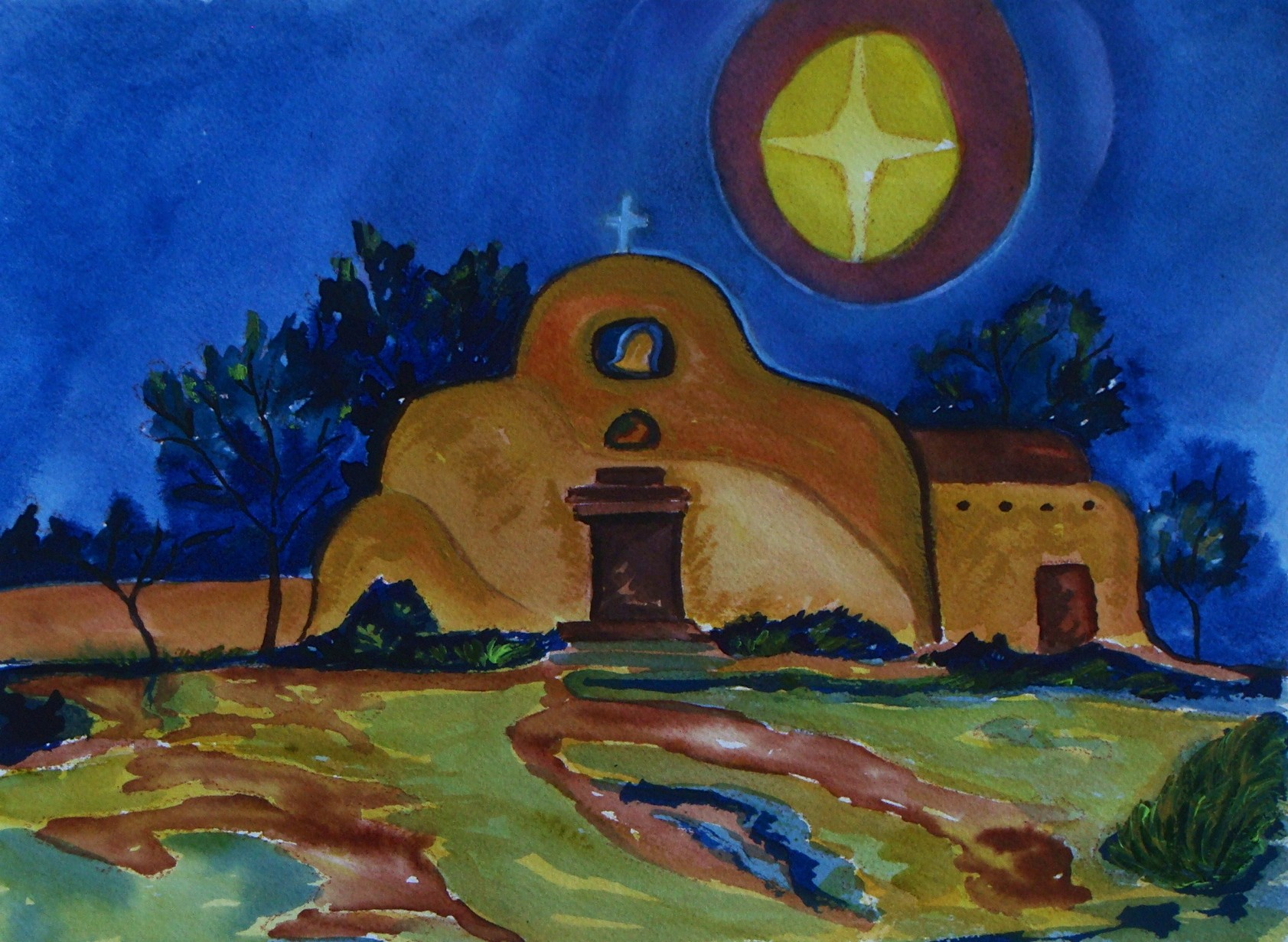 Starry Night, watercolor, 12 z 9, 2014 SOLD