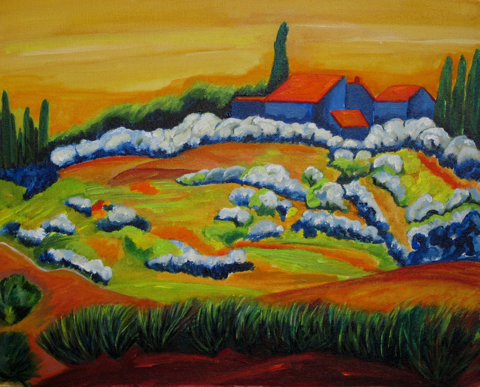 Tuscan Hills, acrylic on paper, 20 x 16
