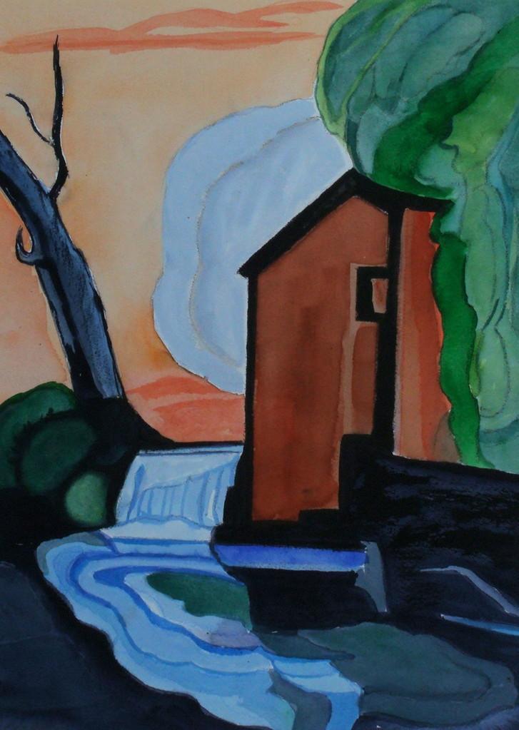 Along the Acequia, watercolor, 10.5 x 14.5, 2013
