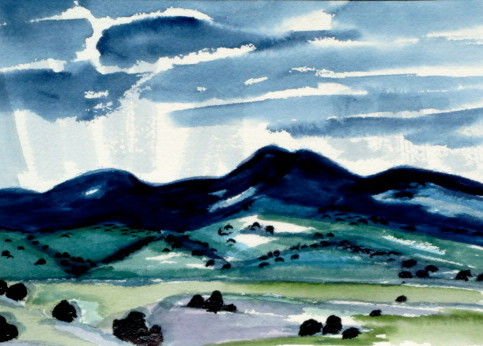 Mountain Shower, watercolor, 10 x 7, 2012 SOLD