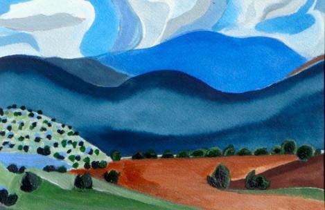 Pinon Hills II, mixed media, 7 x 9.5, 2012