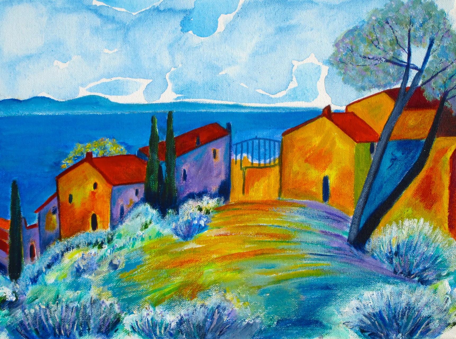 Liguria, acrylic on canvas, 16 x 12